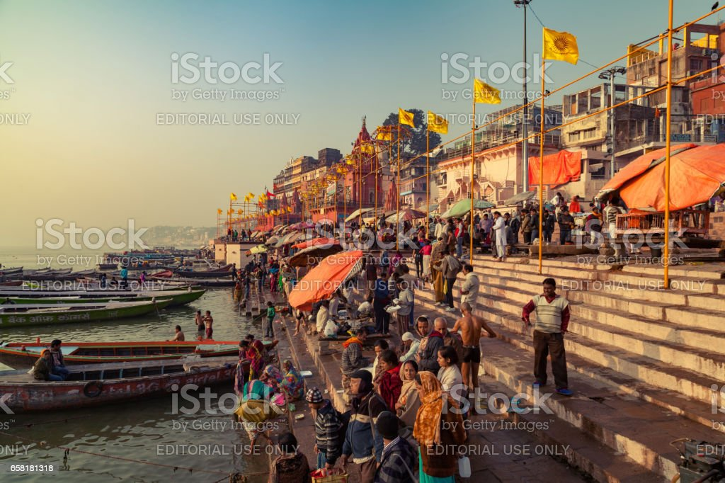 Ghats (Banks) on the Ganges River at Hindu holy city of Varanasi stock photo