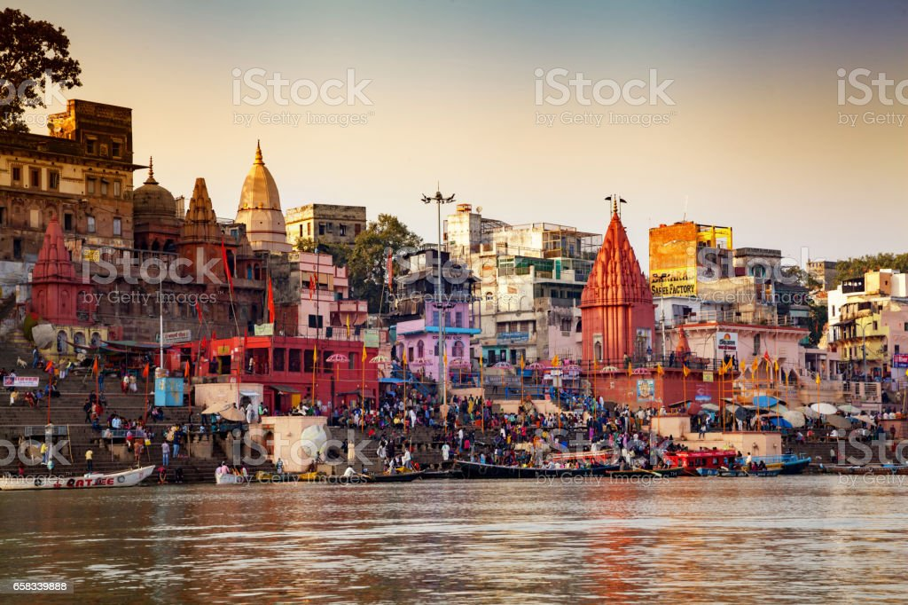 Ghats (Banks) on the Ganges River stock photo