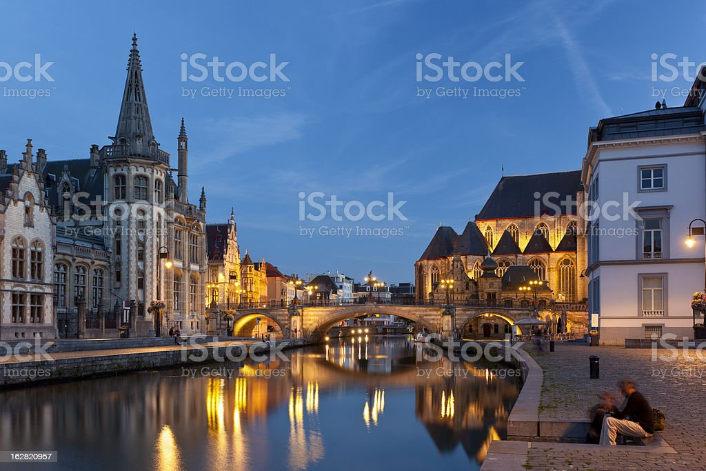 Ghent Canal View At Night royalty-free stock photo