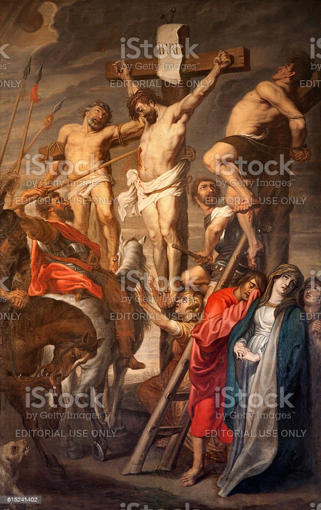 Ghent - Christ on the Cross by Rubens stock photo