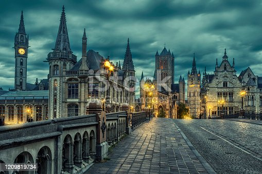 Ghent is a port city in northwest Belgium, at the confluence of the Leie and Scheldt rivers.