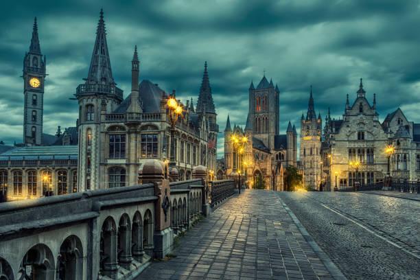 Ghent Cityscape from St Michael's Bridge, Belgium stock photo