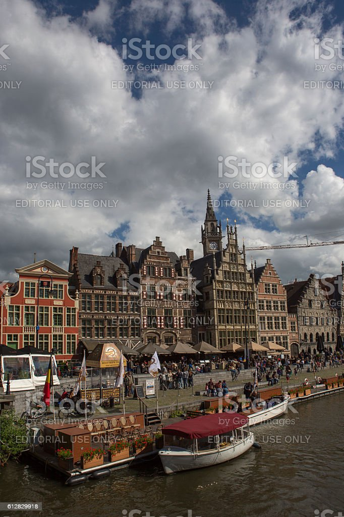 Ghent downtown by leie river at belgium stock photo