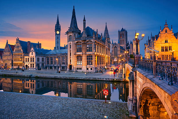 Ghent. Image of Ghent, Belgium during twilight blue hour. belgium stock pictures, royalty-free photos & images