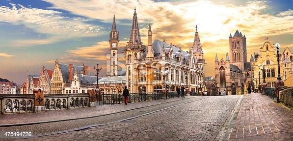 Beautiful medieval Ghent over sunset.Belgium.