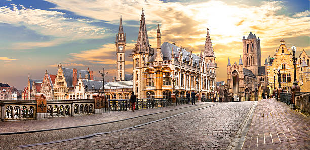 Ghent,Belgium. Beautiful medieval Ghent over sunset.Belgium. belgium stock pictures, royalty-free photos & images