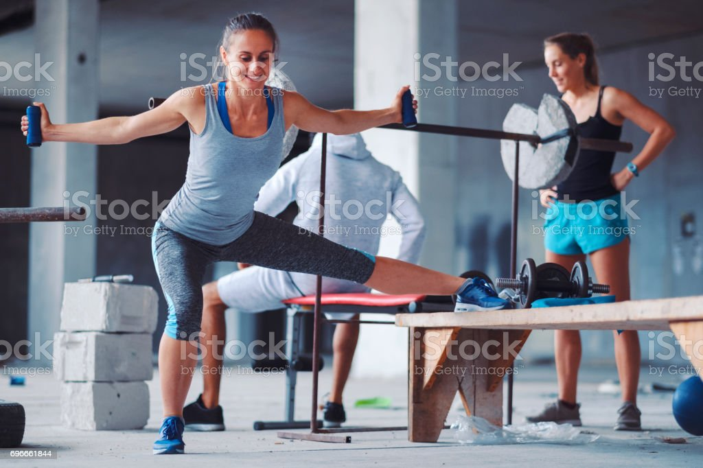 Ghetto gym and group of friendy doing fitness stock photo