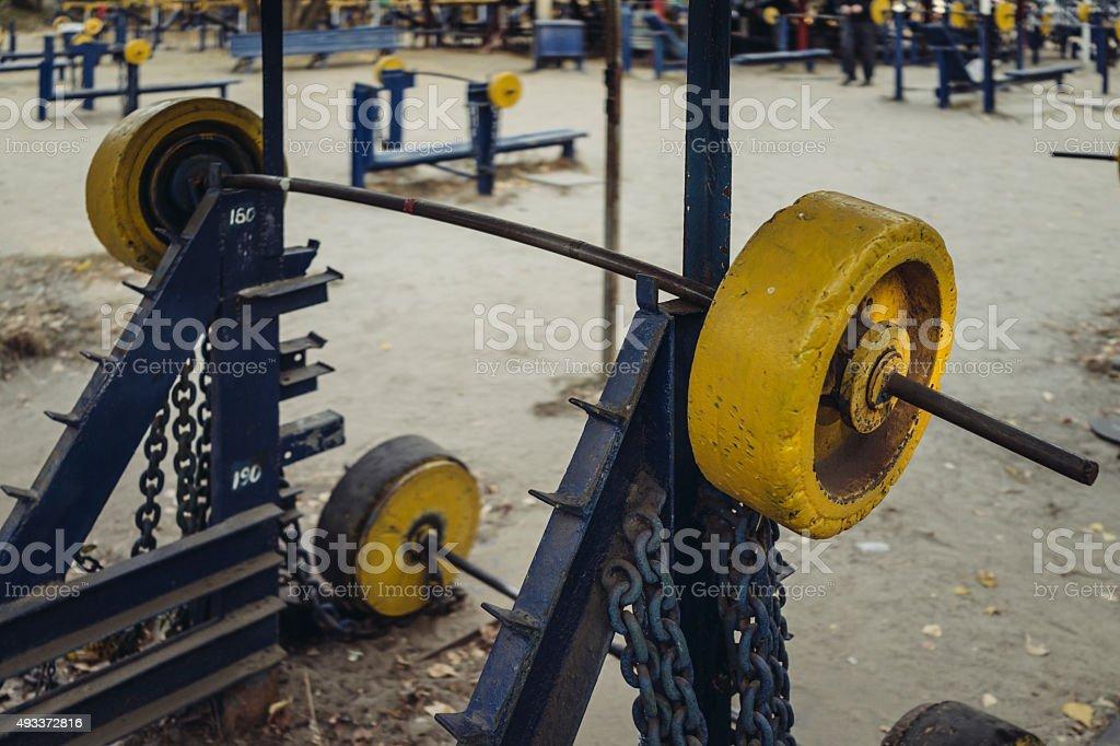 Ghetto. Street gym. stock photo