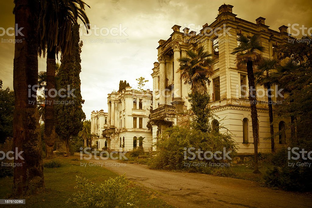 Ghost abandoned town stock photo