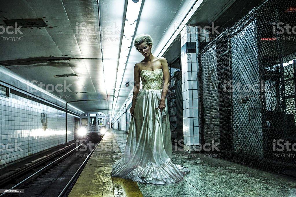 Ghost Bride in the Underground stock photo