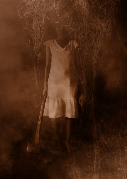 Ghost girl in haunted house stock photo