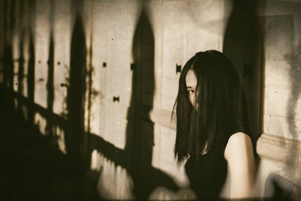 ghost in haunted house, mysterious woman, horror scene of scary woman's, angry ghosts. - cursed stock pictures, royalty-free photos & images