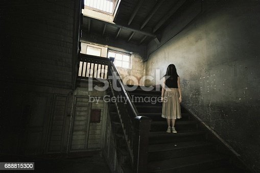 istock Ghost in Haunted House, Mysterious Woman, Horror scene of scary woman's ghost. 688815300