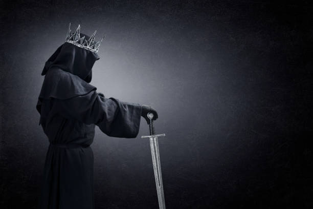 ghost of a queen or king with medieval sword in the dark - cursed stock pictures, royalty-free photos & images