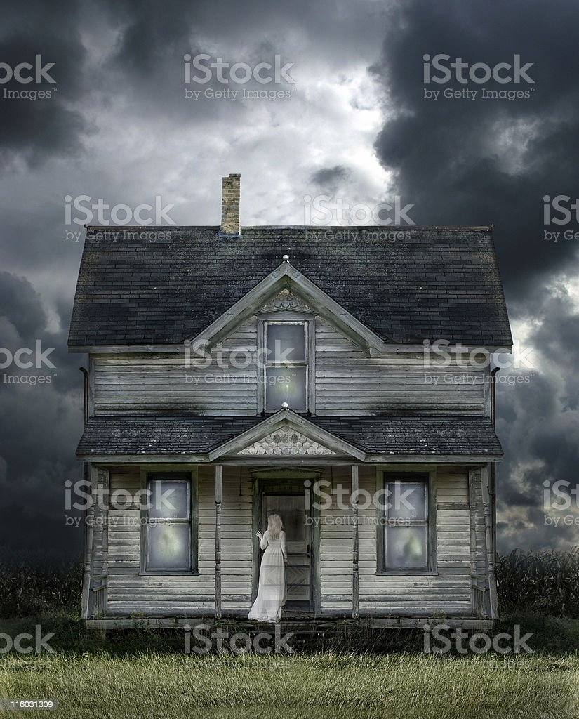 Ghost on Porch in a Storm stock photo