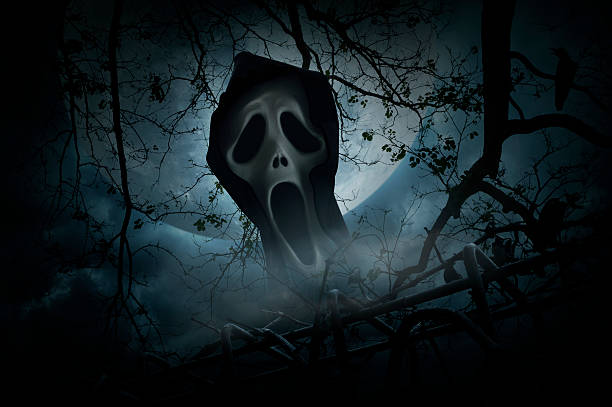 ghost scream with fence over smoke and moon, halloween concept - croak stock pictures, royalty-free photos & images