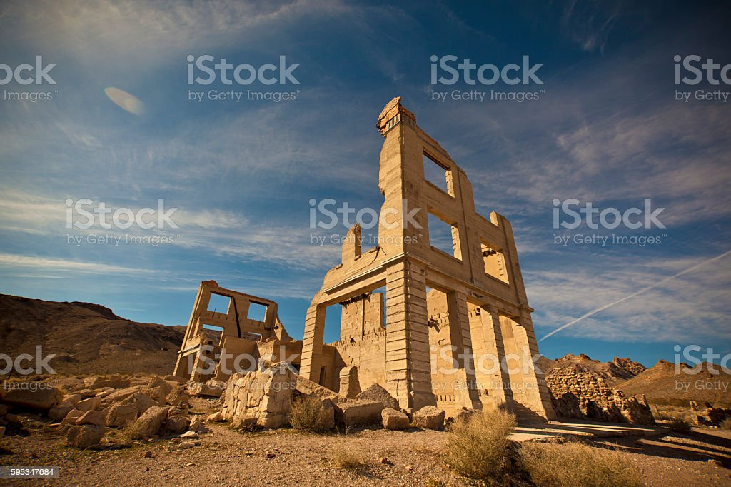 Ghost town abandoned building stock photo