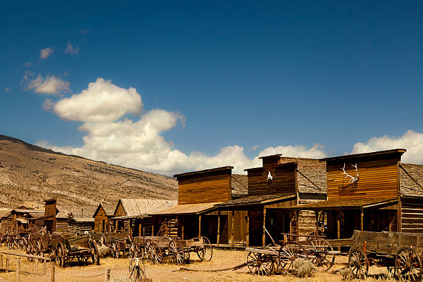 ghost town carriages in wild west usa - western town stock photos and pictures