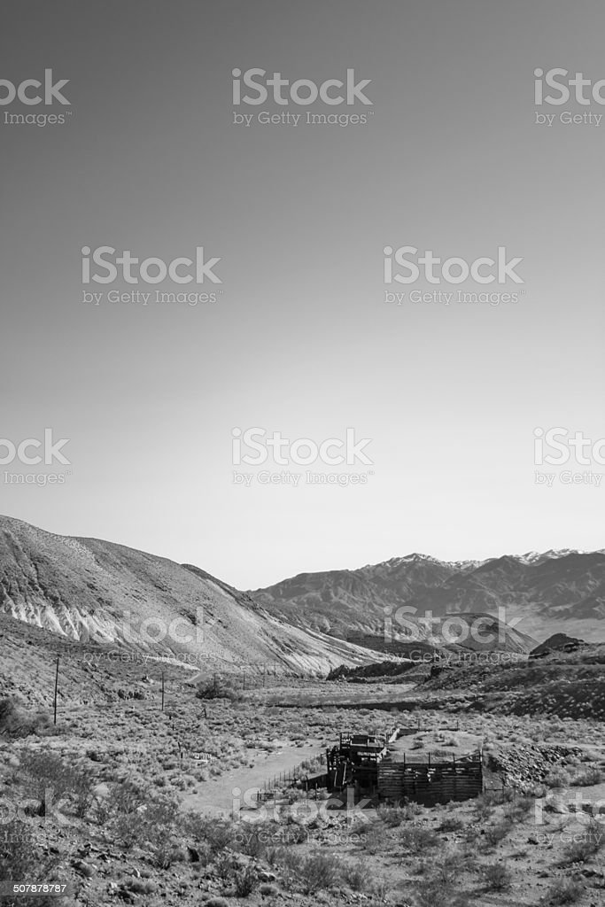 Ghost Town in Death Valley Nation Park, California- Rhyolite Ruins stock photo