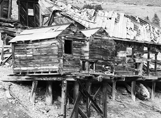 Ghost Town Log Cabin Mining Ruin stock photo