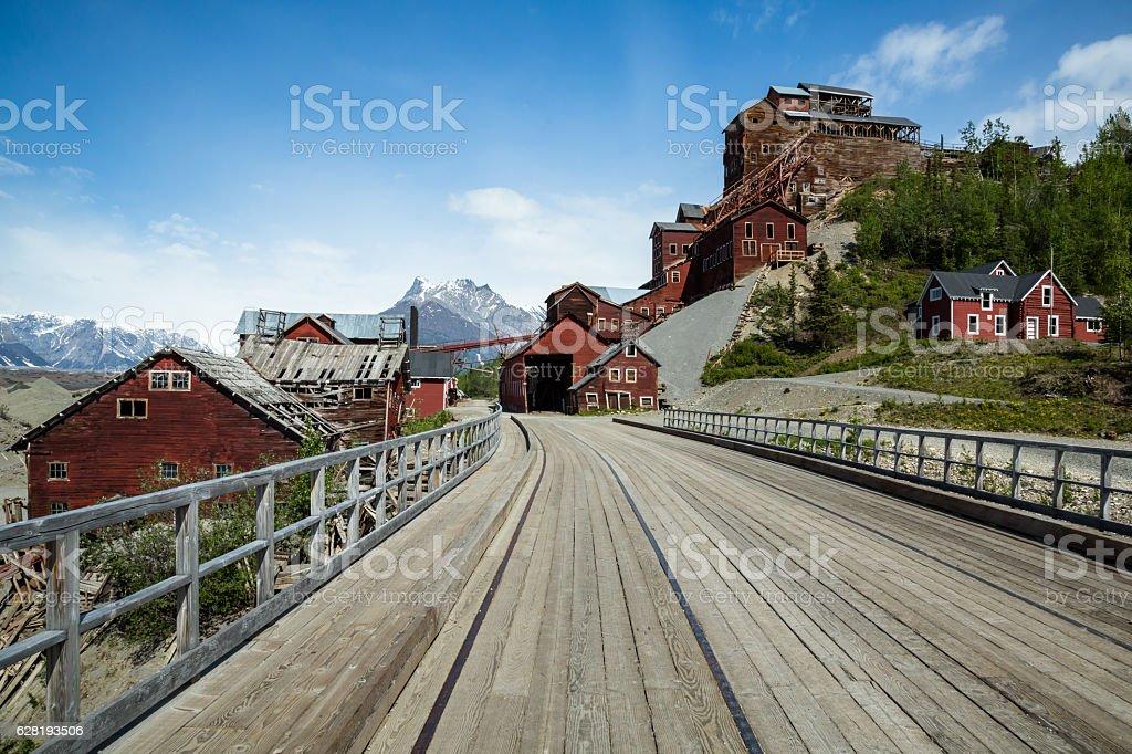 Ghost town of Kennicott, Alaska stock photo