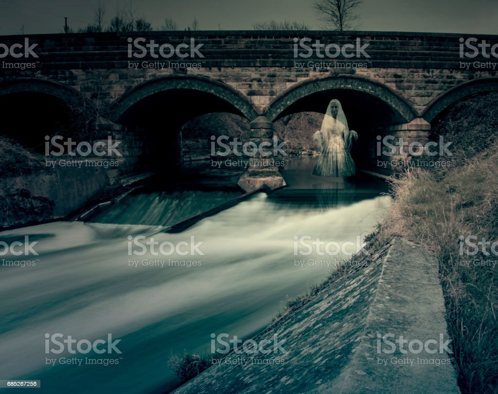 Ghost Under River Bridge stock photo