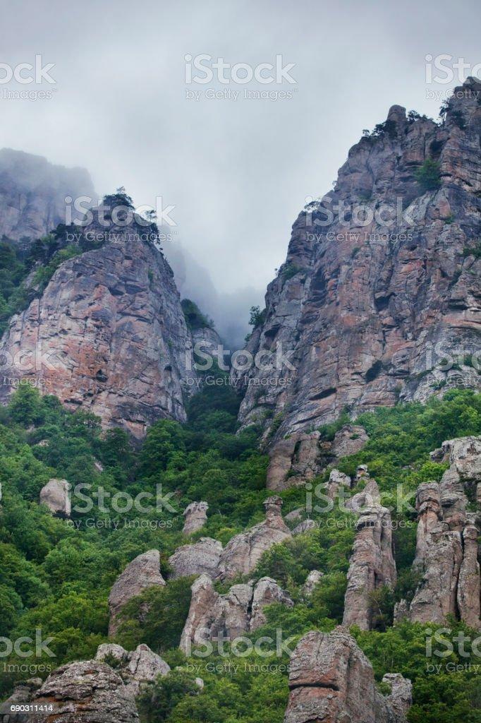 Ghost valley, Demurge mountain. Crimea landscape stock photo