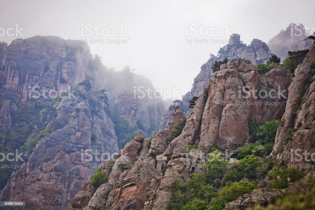 Ghost valley landscape, Demergi mountain view. Crimea stock photo