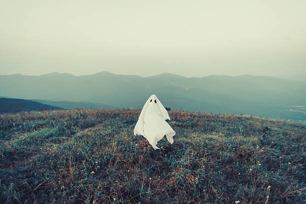 ghost walking on meadow - geist kostüm stock-fotos und bilder