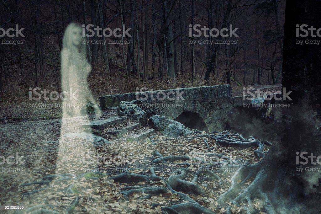 Ghost Woman in Forest stock photo