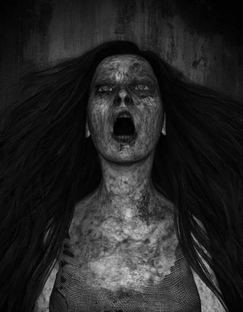 ghost frau - brüllender tod stock-fotos und bilder