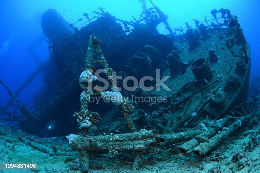 The stern of the Giannis D Shipwreck, a cargo ship that sank after hitting a reef on 19 April 1983, Red Sea, Egypt