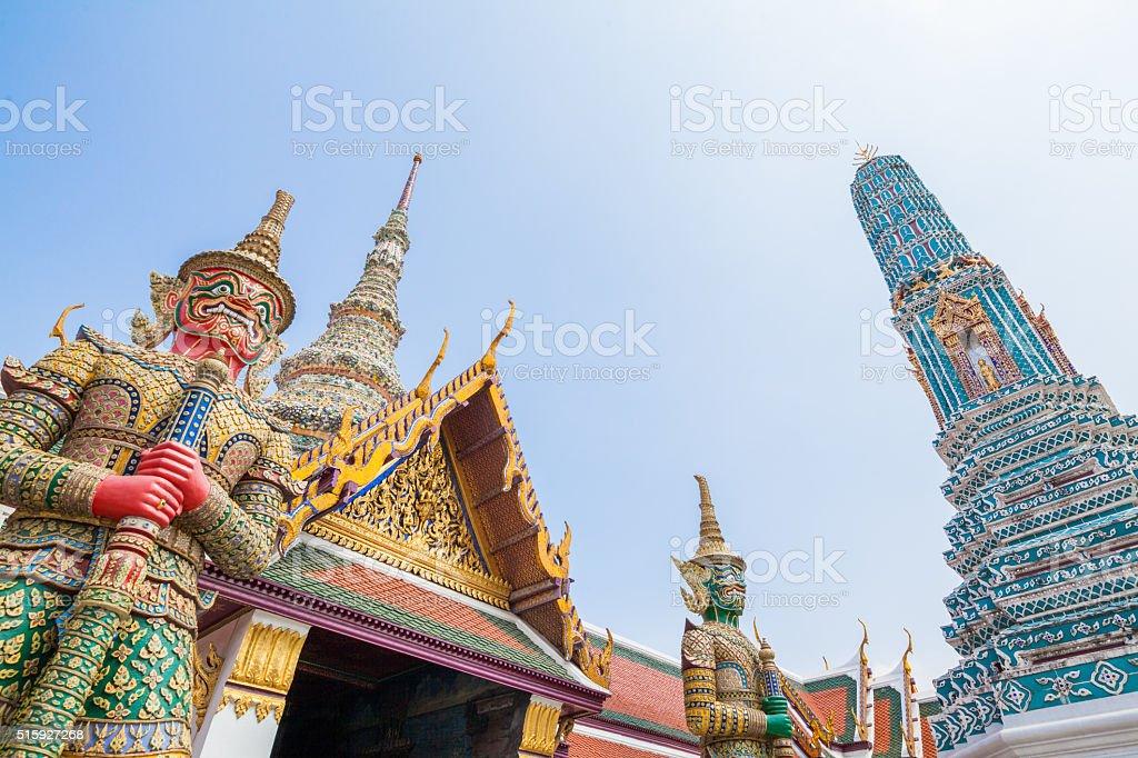 giant and pagoda in wat phra kaew in bangkok  thailand stock photo