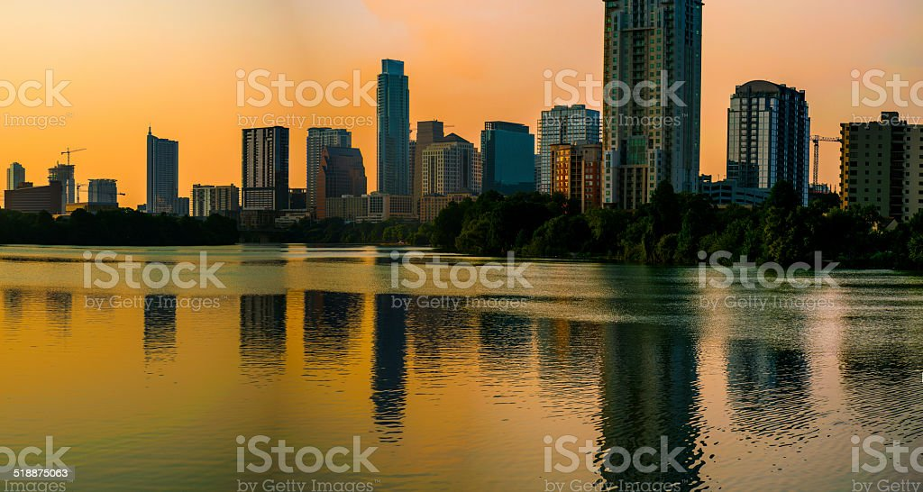 Giant Austin Texas Panorama Skyline with Lady Bird Lake stock photo