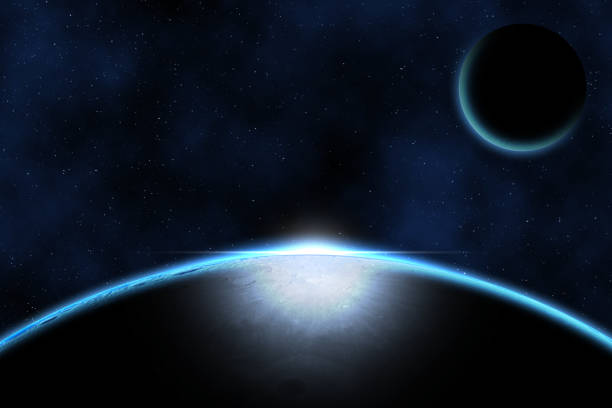 Giant blue planet against starry cosmos sky, fantasy image based on amateur moon astrophotography stock photo