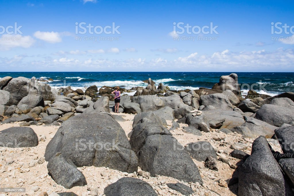 Giant Boulders on Aruba, North Shore stock photo