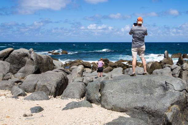 Giant Boulders on Aruba, North Shore stock photo