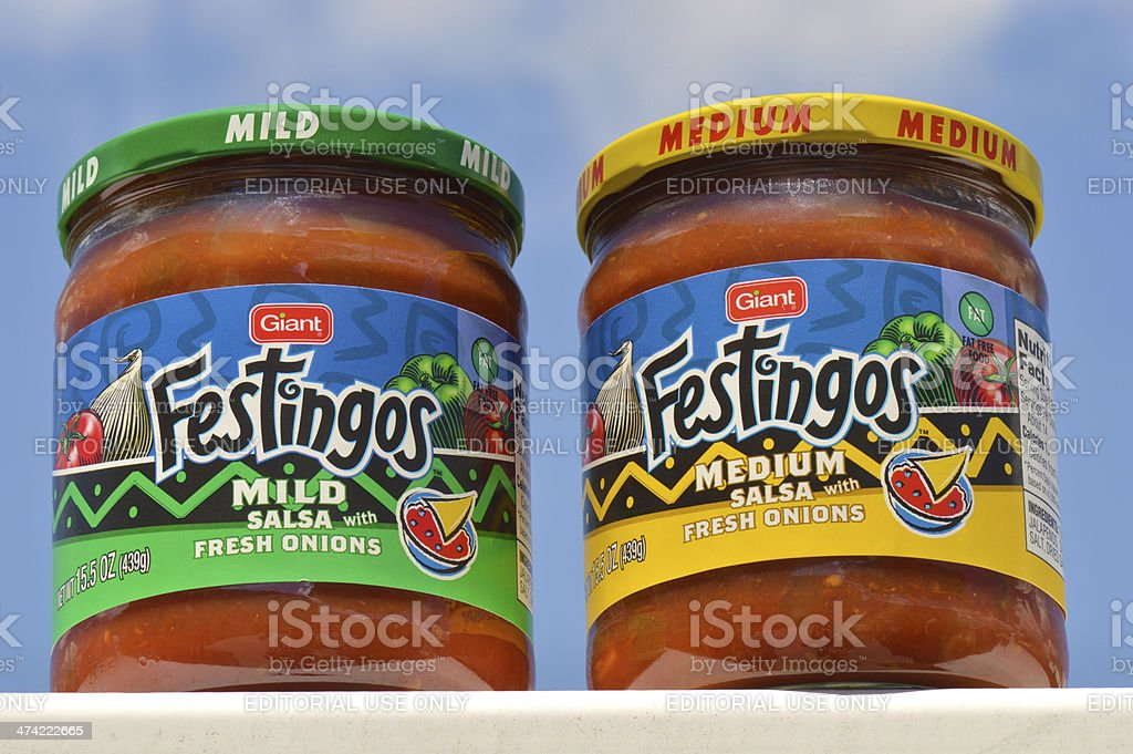 Giant Brand Festingos Mild and Medium Salsa With Fresh Onions royalty-free stock photo