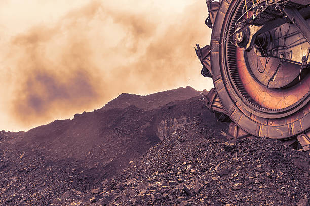 Giant bucket wheel excavator for digging the brown coal stock photo