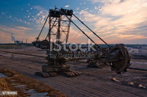 istock Giant bucket wheel excavator in an open pit 97760584