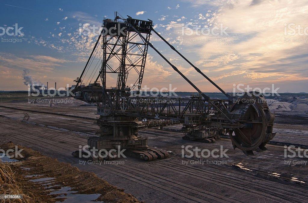 Giant bucket wheel excavator in an open pit stock photo