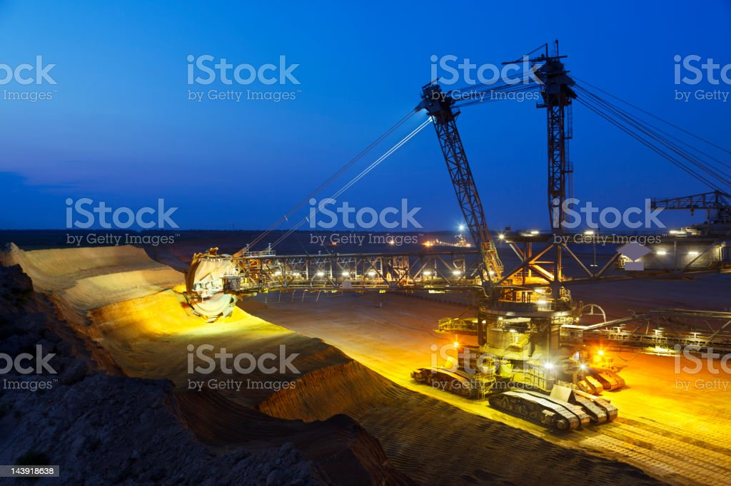 Giant Bucket-Wheel Excavator At Night royalty-free stock photo
