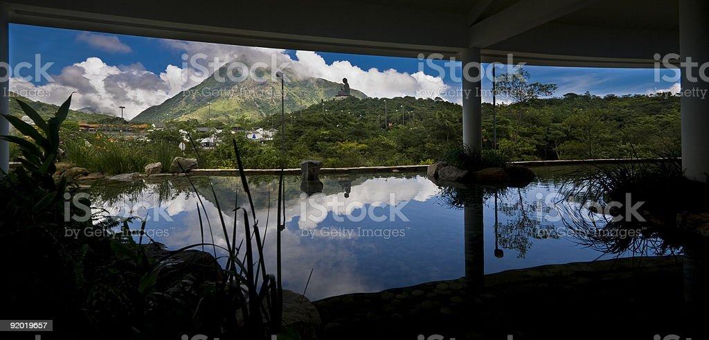 Giant Buddha Reflecting in Pool stock photo