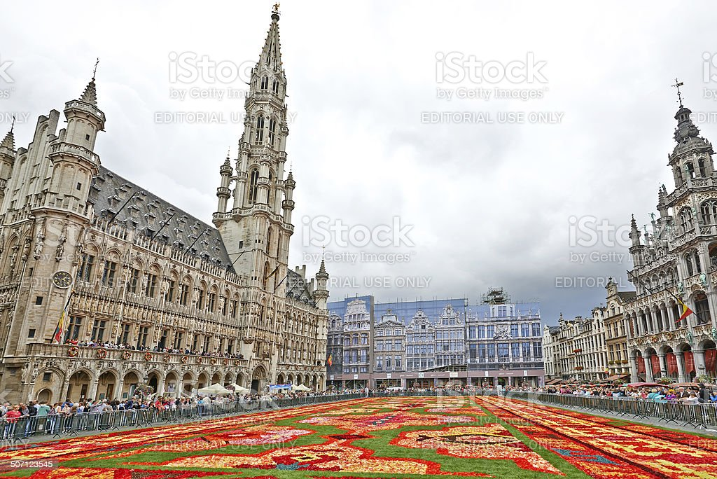 Giant carpet at Grand Place in Brussels stock photo