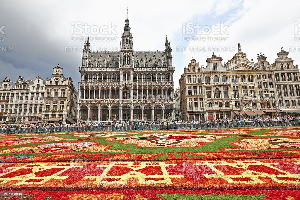 Giant carpet at Grand Place in Brussels - Stock image .