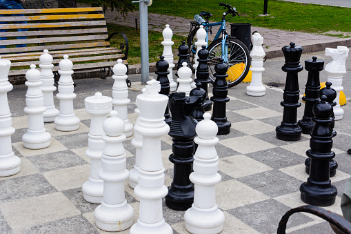 Giant chess on the asphalt. Ulyanovsk, Russia.