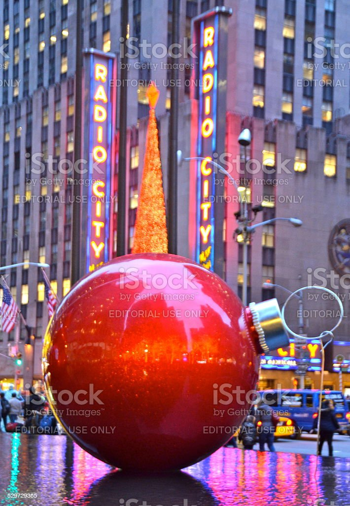 Giant Christmas Ornaments In Midtown Manhattan Nyc Stock Photo