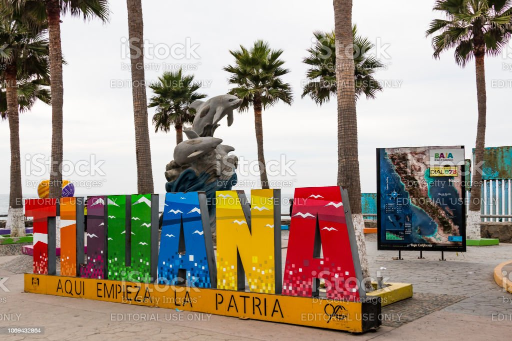 A giant colorful sign welcomes visitors to Playas de Tijuana near the...