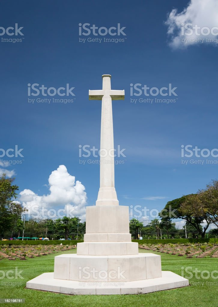 Giant Cross in Cemetery royalty-free stock photo