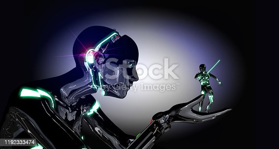1050855372 istock photo Giant Cyborg versus Little Warrior 1192333474